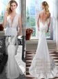 Mermaid Brush Train Clasp Handle Garden Wedding Dress with Deep V Neck