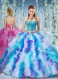Gorgeous Rainbow Colored Big Puffy 15 Quinceanera Dress with Beading and Ruffles