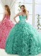 Popular Rolling Flower Mint Detachable Quinceanera Skirt with Brush Train