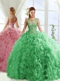 See Through Beaded Scoop Detachable Quinceanera Skirt with Rolling Flower
