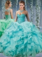 Classical Beaded and Applique Big Puffy Popular Quinceanera Dress in Aqua Blue
