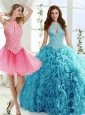Cut Out Bust Beaded Unique Quinceanera Gowns in Baby Blue