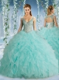 Discount Hot Beaded Decorated Cap Sleeves Quinceanera Dress with Deep V Neck