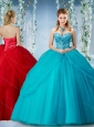 Elegant Beaded and Ruffled Big Puffy Discount Quinceanera Dress in Baby Blue