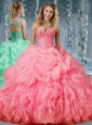 Organza Big Puffy Watermelon Perfect Quinceanera Dresswith Beading and Ruffles