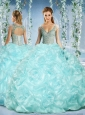 Perfect Cap Sleeves Beaded Light Blue Quinceanera Dress with Deep V Neck
