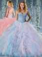 Popular Rainbow Big Puffy Quinceanera Dress with Beading and Ruffles