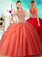 Two Piece See Through Beaded Discount Quinceanera Dress in Orange Red