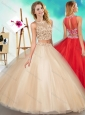 Unique Two Piece See Through Scoop Quinceanera Dress with Beading and Appliques
