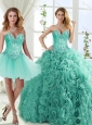 Visible Boning Beaded Popular Quinceanera Gowns in Rolling Flowers
