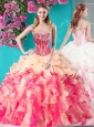 Colorful Ball Gown Sweetheart 15 Quinceanera Dress with Rhinestones and Beading