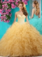Delicate See Through Scoop Big Puffy 15 Quinceanera Gown with Beading and Ruffles