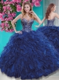 Luxurious Brush Train Navy Blue 15 Quinceanera Dress with Beading and Ruffles