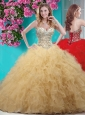 Classical Gold Really Puffy Quinceanera Dress with Beading and Ruffles