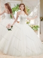 Discount White Ball Gown Sweetheart Court Train Beaded Quinceanera Dress in Tulle