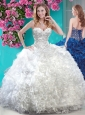 Discount White Really Puffy Quinceanera Dress with Beading and Ruffles