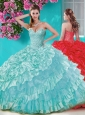 Gorgeous Big Puffy Quinceanera Dress with Beading and Ruffles Layers