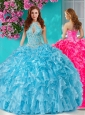 Popular Beaded and Ruffled Big Puffy Quinceanera Dresses with Halter Top
