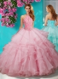 Popular Beaded and Ruffled Layers Quinceanera Gown with Halter Top
