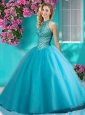 Popular Big Puffy Halter Top Quinceanera Dress with Beading and Appliques