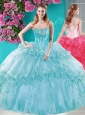 Popular Big Puffy Ruffled Turquoise Quinceanera Dresses with Beaded Bodice