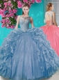 Popular Open Back Beaded and Ruffled Quinceanera Dress with Removable Skirt