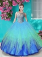 Popular See Through Beaded Bodice Quinceanera Dress in Gradient Color