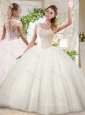 See Through White Ball Gowns High Neck Sequins Beaded Quinceanera Dress with Zipper Up
