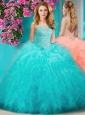 Sophisticated See Through Beaded Scoop Quinceanera Dress with Ruffles