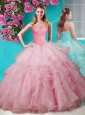 Unique Baby Pink Really Puffy  Quinceanera Dress with Beading and Ruffles Layers