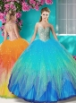 Unique Beaded and Applique Quinceanera Dress in Multi Color