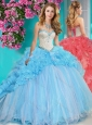 Unique Beaded and Ruffled Big Puffy Quinceanera Dress with Brush Train