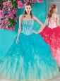 Unique Visible Boning Beaded Quinceanera Dress in White and Blue