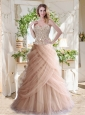 Elegant A Line Champagne Quinceanera Dress with Beading and Ruffles