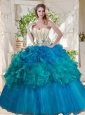 Elegant Beaded and Ruffled Really Puffy Quinceanera Dress in Teal and Blue