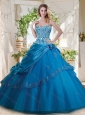 Fashionable Beaded and Applique Big Puffy Quinceanera Dresses in Teal