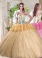 Gorgeous Beaded and Bubble Organza Quinceanera Dress in Gold
