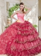 Gorgeous Beaded and Ruffled Big Puffy Quinceanera Dress in Rainbow