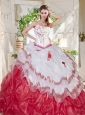 Popular Big Puffy Bubble Beaded and Ruffled Quinceanera Dress with Asymmetrical Necklin