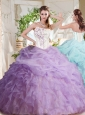 Fashionable Asymmetrical Visible Boning Beaded Quinceanera Dress with Ruffles and Bubbles
