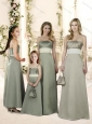 Best Selling Satin Empire Bridesmaid Dress with Sashes and Ruching
