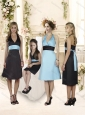 Fashionable Halter Top Knee Length Bridesmaid Dress with Sashes