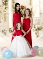 2016 Discount Sweetheart Empire Bridesmaid Dress in Red