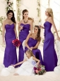 2016 Fashionable Mermaid Floor-length Bridesmaid Dress in Purple