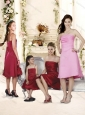 Artistic Empire Knee Length Straps Bridesmaid Dress in Pink