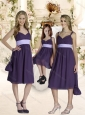 Elegant Empire Straps Purple Bridesmaid Dresses with Ruching and Belt