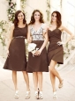 Elegant Empire Taffeta Brown Bridesmaid Dress in Knee Length