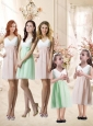 Fashionable V Neck Handle Made Flower Bridesmaid Dress in Apple Green and White