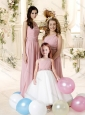 Feminine One Shoulder Empire Bridesmaid Dress with Sashes and Beading