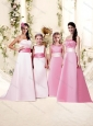 Pretty Sashed and Ruched Empire Cheap Bridesmaid Dress with Brush Trai